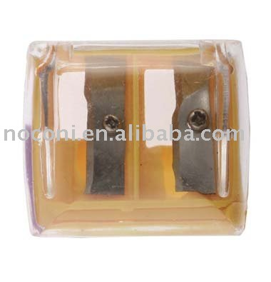 yellow double hole eyebrow pencil sharpener