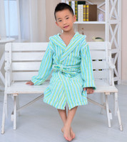 Sex products 100% cotton yarn dyed striped see through robes for kids