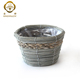 Round Small White Willow Basket Flower Pot with Plastic Film for Sale
