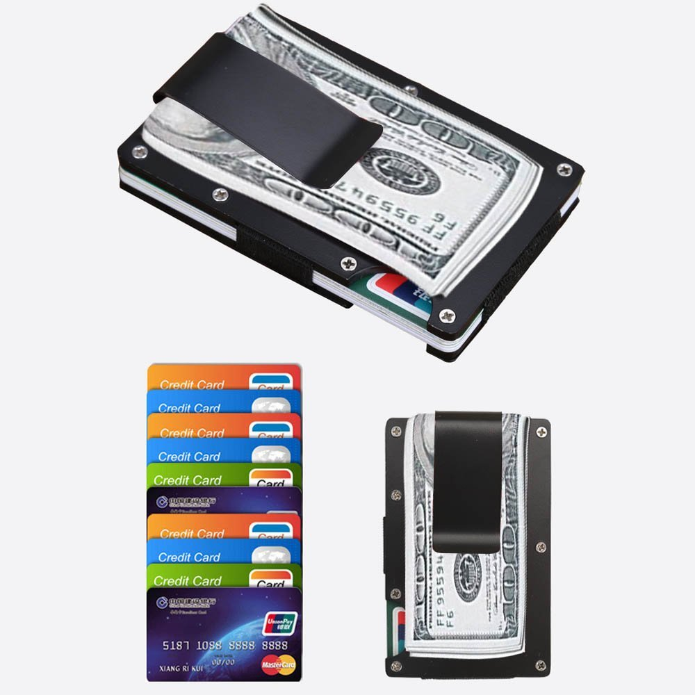 Mini Slim Wallet Money Clip Metal Aluminum Business Credit Card ID Holder With Anti-chief Case Protector