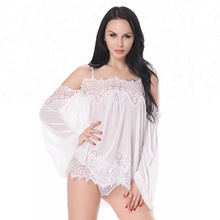 Long Sleeve Sexy Mature Women Sleepwear Lingerie Underwear Set