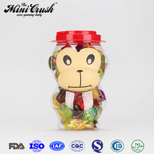 Cute monkey drum toys candy,Multi-colored color mini plastic cup jelly candy