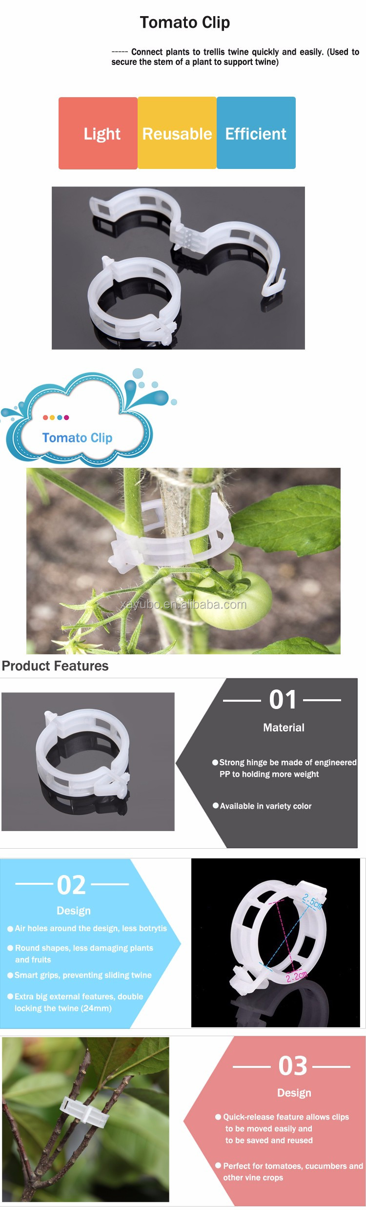2017 New Durable 24mm Support Tomato Clips For Vine Garden Vegetables