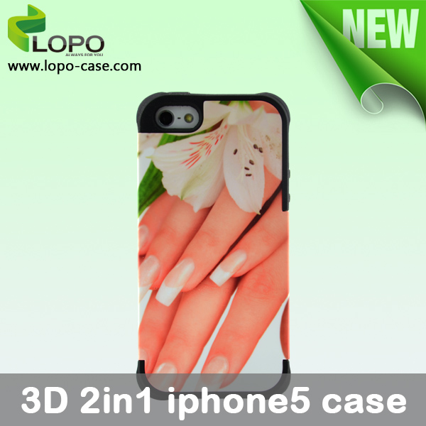 3D 2in1 Sublimation Phone Case for Iphone5