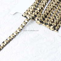 Round Shaped Rivet Decoration Banding,cone metal chain with glue back