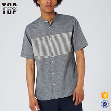 Wholesale stand collar grey striped mens fitness casual shirt