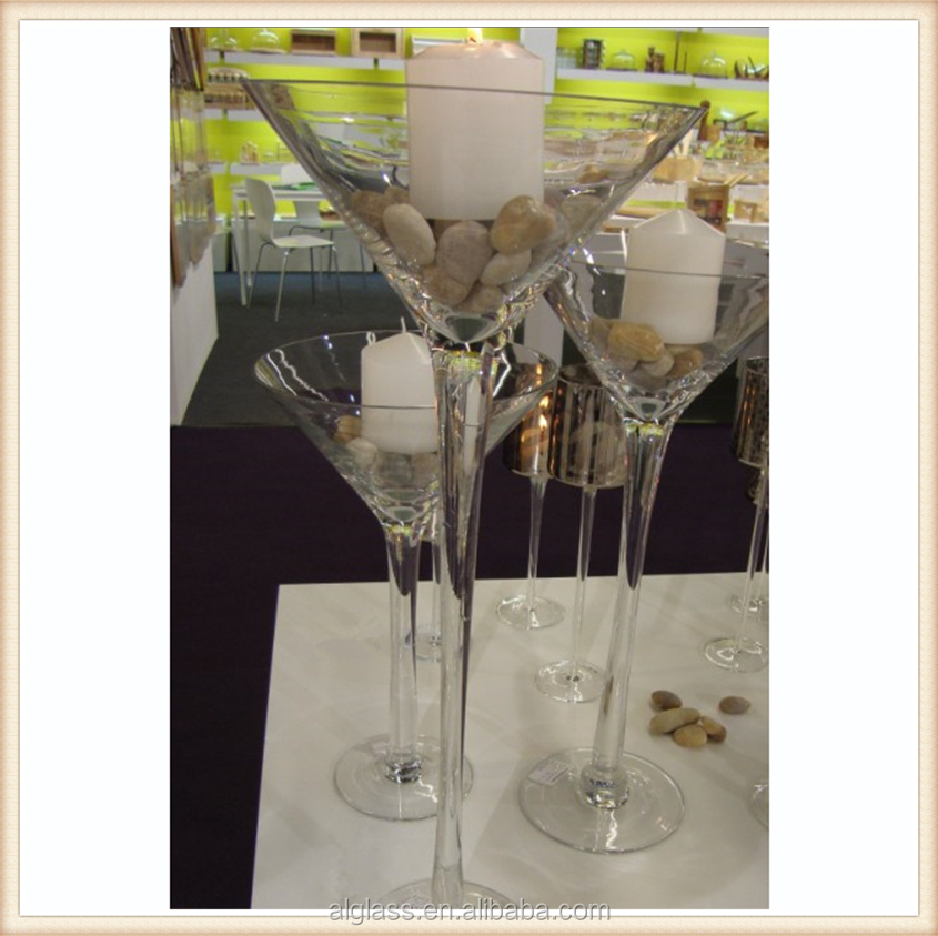 Cheap wholesale tall martini glass vases centerpieces for