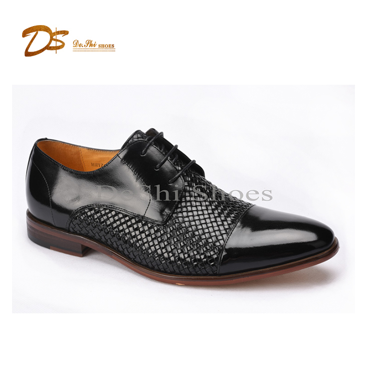 2017 leather woven genuine leather italian shoes men