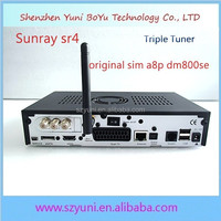 sunray 800 hd se sr4 triple tuner wifi with sim a8p card for dreambox hot for Italy