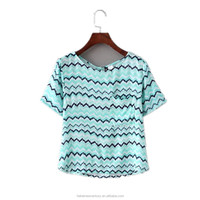 2016 Summer Europe America New Style Stripe Plain Round Neck Printed Lady T-shirt