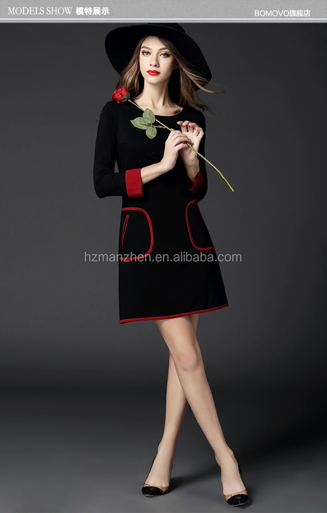 The latest fashion long seelve ladies black dress