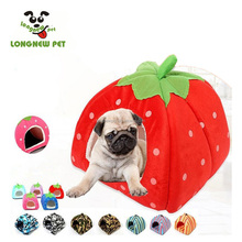 New Arrived Warm Pet Bed For Dog Cat Soft Fleece Strawberry Strip Camouflage Puppy Dog Bed