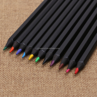 Hexagonal Color pencils with black wood and black matt painting