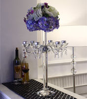 Tall Glass candle Holders / crystal glass candlestick candelabra for wedding decoration / lights crystal table flower stand