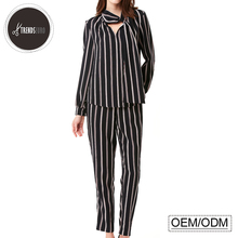 stripe formal ladies office suits pictures front neck design women 2 piece suits