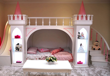 Luxioury Children/Girls Princess Double Bed With Slide Castle Style