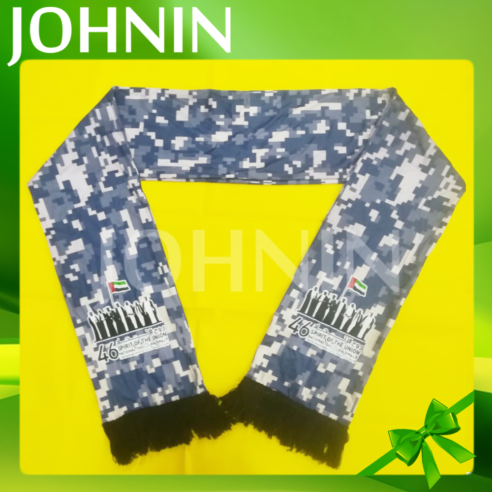 Camouflage color custom logo 110gsm Knitted polyester UAE scarf
