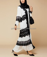 new design women casual dress plus size Indian style long sleeve lace maxi long abaya with scarf