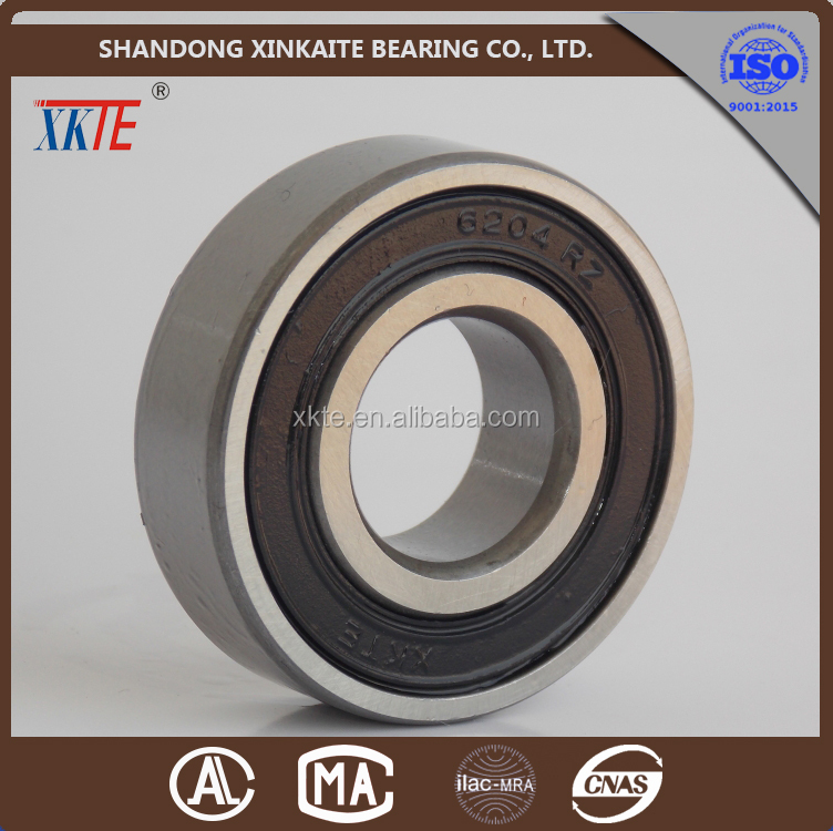 Professional high quality rubber seals 6204-2RZ idler roller bearings made in yandian shandong