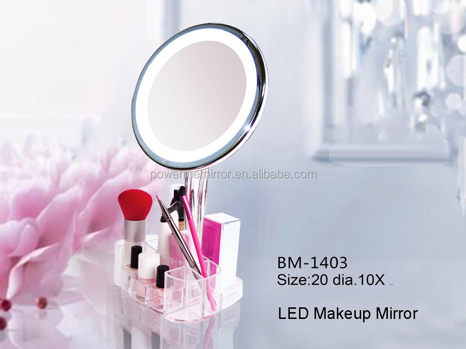 Makeup Vanity mirror lighted with a cosmetic organizer, touch screen desktop makeup mirror