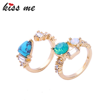 New Kiss Me Brand Golden Ring Wholesale Women Turquoise Ring