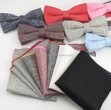 Fashion Solid Cotton polyester pocket square and bow tie sets for men