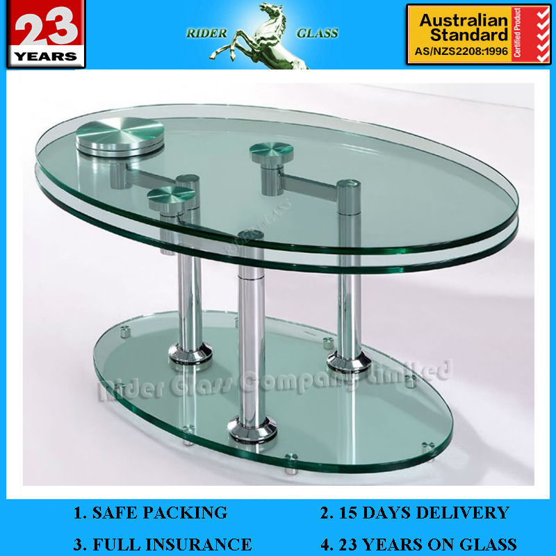 3-19mm Oval Glass Dining Table