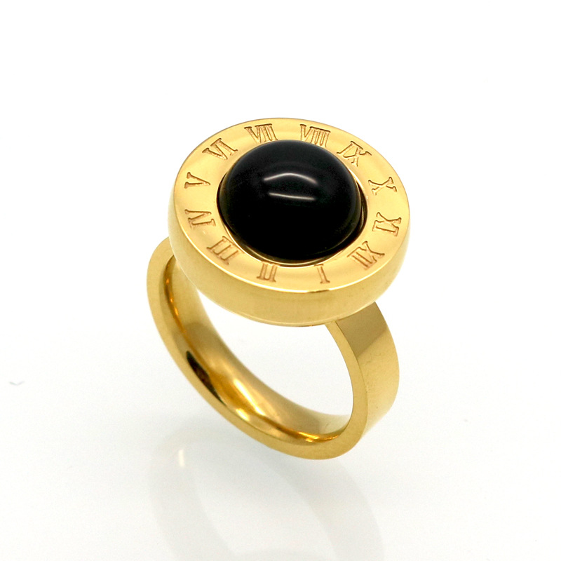 wholesales 316L stainless steel women men round shell onxy agate ring