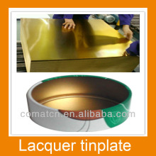 Golden lacquered tinplate or TFS steel for corks