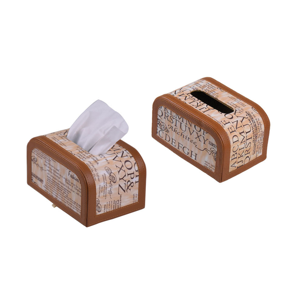 Handmade custom cream color leather car tissue dispenser box