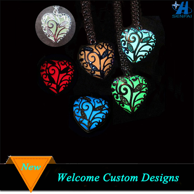 Luminous Hollow Out Heart Glow Necklace Glow in the Dark Necklace