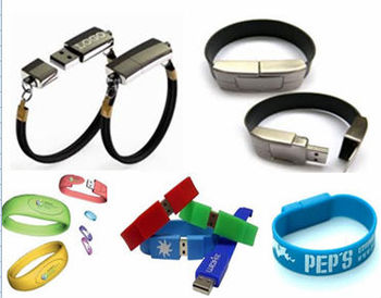 Fashionable Bracelet usb with your company logo printed