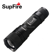 Hot sales good quality aluminium SupFire led rechargeable flashlight with ce