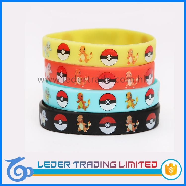pokemon debossed silicone bracelet custom pokemon go engraved color filled silicone wristband