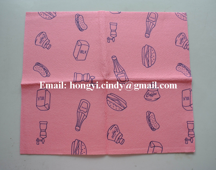 Machine washable lint free viscose/polyester needle punched nonwoven fabric printed kitchen cleaning wipes, kitchen wipes
