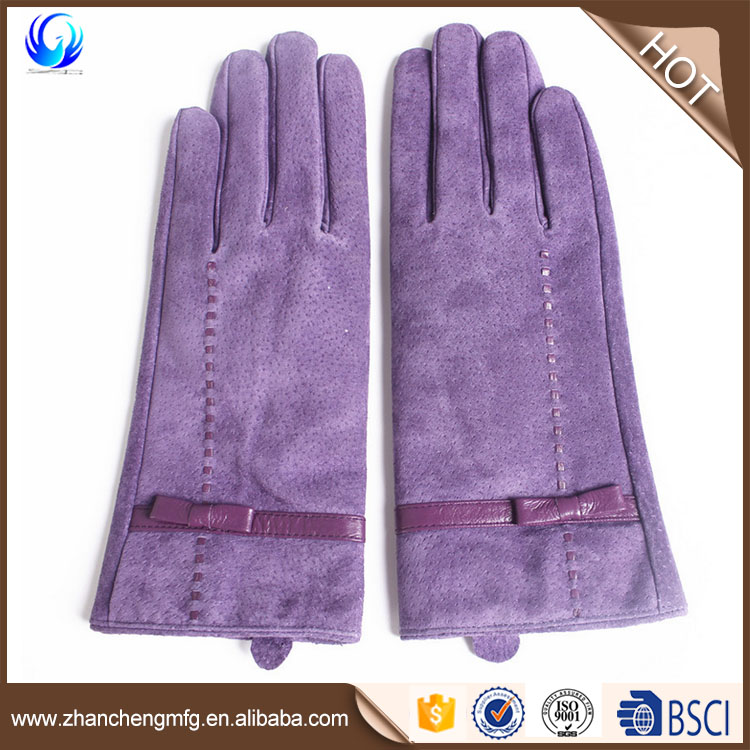 Purple color suede leather gloves with cheap price