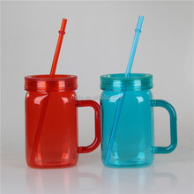 High Quality Wholesale 16OZ Drinking Mason Jar with Handle and Straw