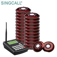 SINGCALL Restaurant 20 Pagers Power Supply Coaster Pagers Wireless Coaster Guest Waiter Queuing System