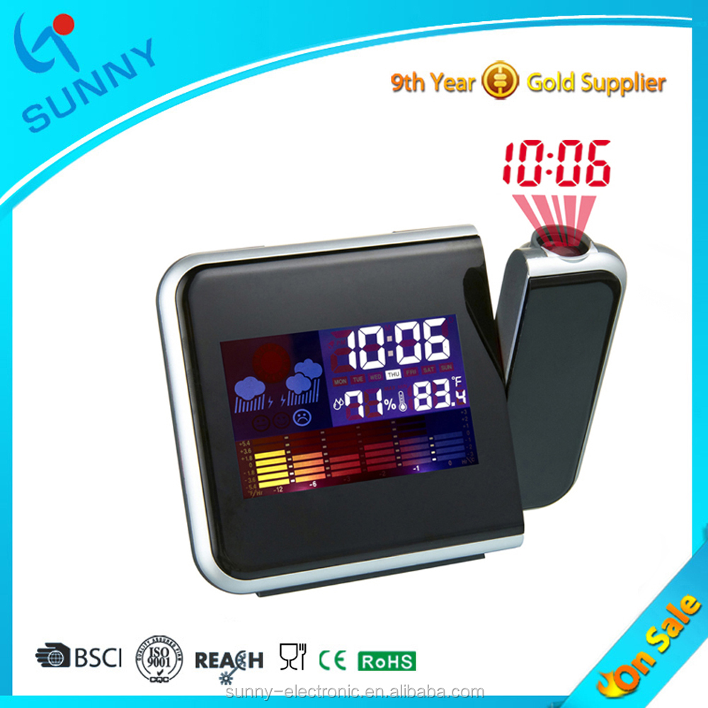 Sunny Factory Supply Hot Sale Snooze Light Laser Projection Table Digital Alarm Clock With Weather Station