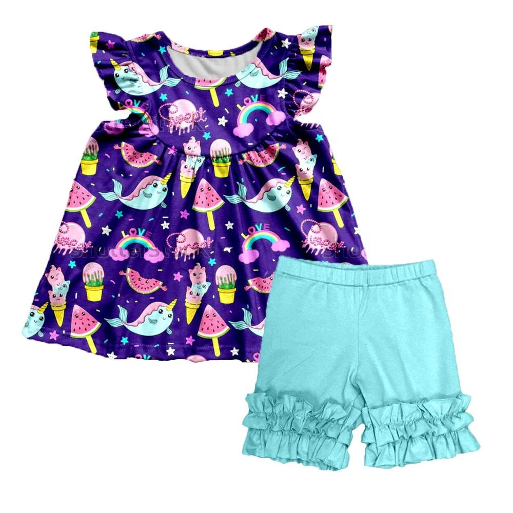 Lovely Kids Baby Girl Cartoon Pattern Clothes Set for 2-14T Girls outfits