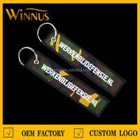 no minimum personalize own brand logo name custom embroidered keychain