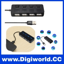 High Speed LED 4 Ports USB 2.0 Hub USB Adapter with Separate ON/OFF Switch