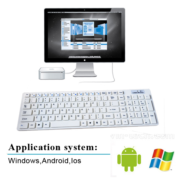 hot selling white 2.4G V3.0 bluetooth wireless keyboard