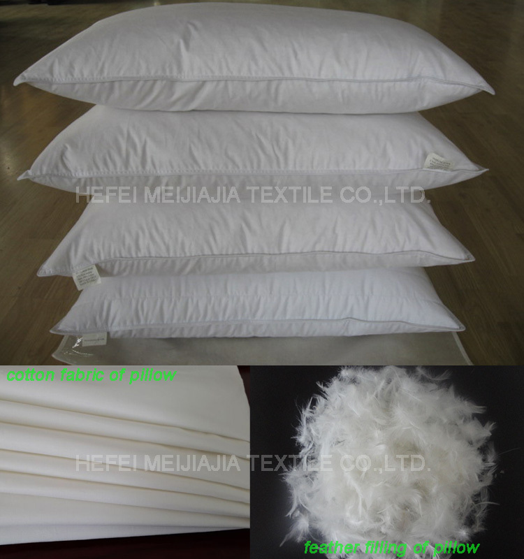 Soft white duck feather and goose feather pillow insert or inner