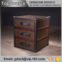 Home Goods Antique Chinese Leather Trunk With 3 Drawers