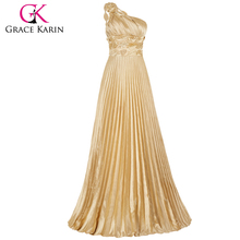 Grace Karin Long Gold Evening Dresses Special Occasion Women Pleat Satin Evening Gowns One Shoulder Prom Party Dress CL6033