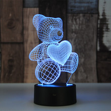 Cute Heart Bear 3D LED illusion Night Light Table Desk Lamps, Elstey 7 Color Changing Lights with USB Charger for Kids Gifts