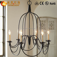 Glass Lamp shade Wrought Iron Chandeliers,Wrought iron candle light shade pendant lamp