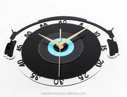 Music Vinyl CD album steric wall clock,creative fashion art wall clocks,retro nostalgia music lovers' home decorations, watch