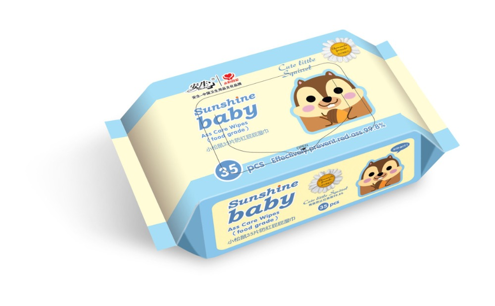 35PCS Valued Packing Baby Wet Wipes Stocklot Soft Cotton Nonwoven Baby Wipes 35G,40G,45G Cloth OEM